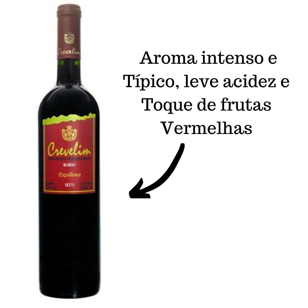 Kit 2 Vinhos De Mesa Tinto Crevelim Seco Bordô Excellence 750ml