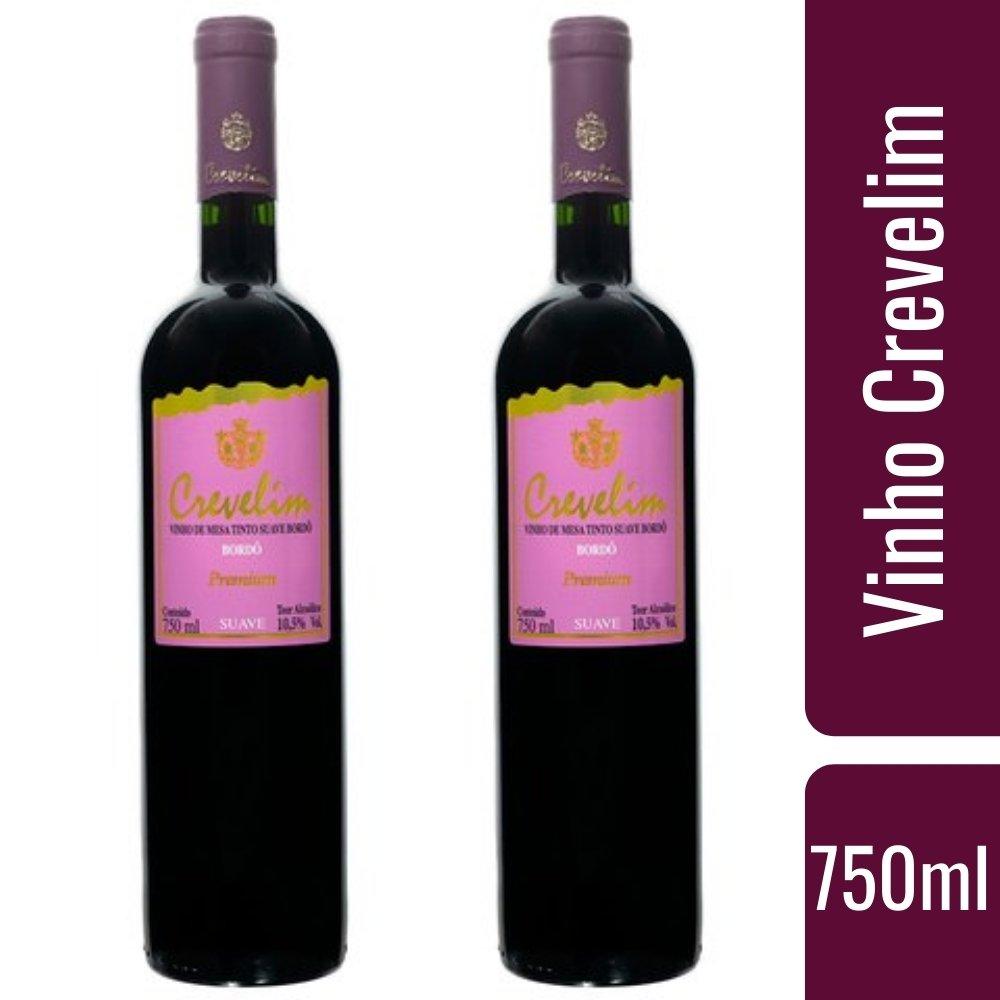kit 2 Vinhos De Mesa Tinto Crevelim Suave Bordô Premium 750ml