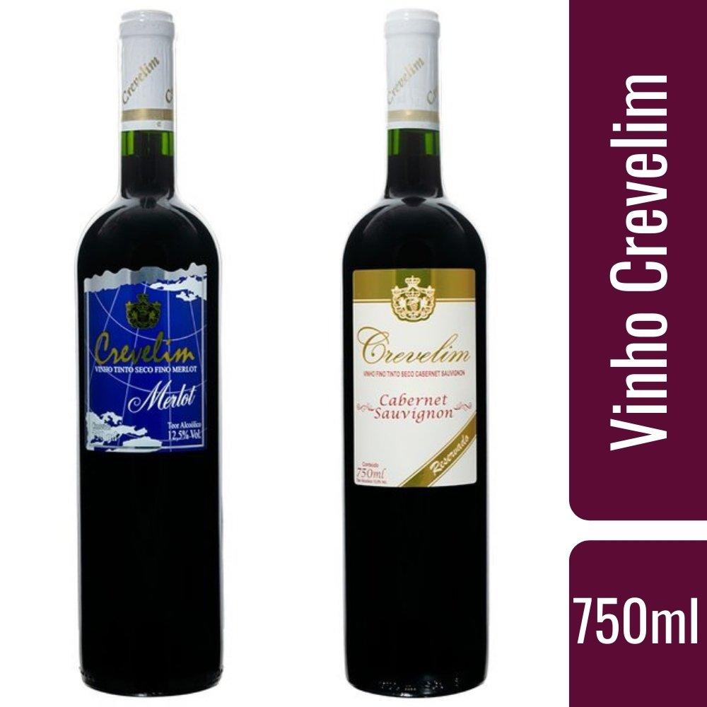 Kit 2 Vinhos Tinto Crevelim Seco Fino 1 Cabernet Sauvignon  E 1 Merlot 750ml