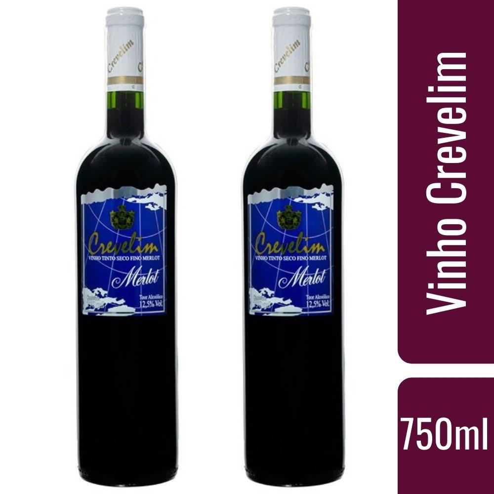 Kit 2 Vinhos Tinto Crevelim Seco Fino Merlot 750ml