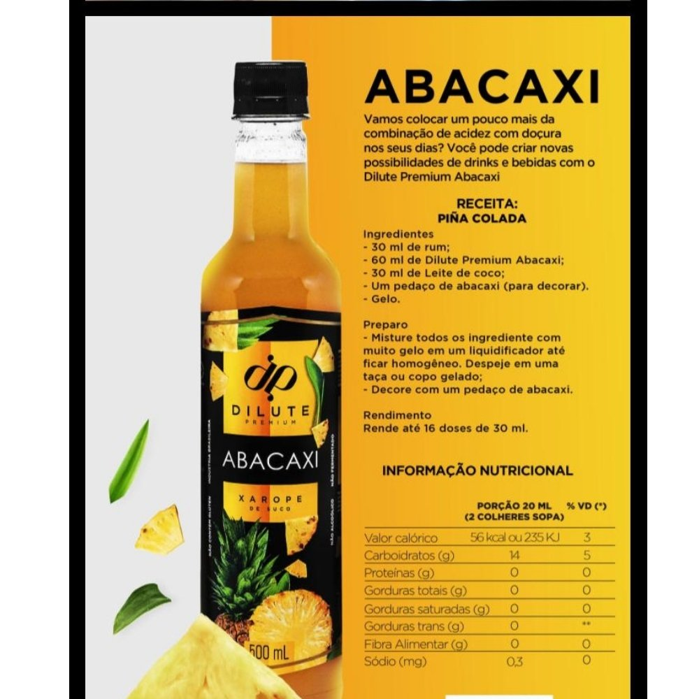 Kit 2 XAROPES DILUTE PREMIUM DRINKS E DOCES 500ML ABACAXI