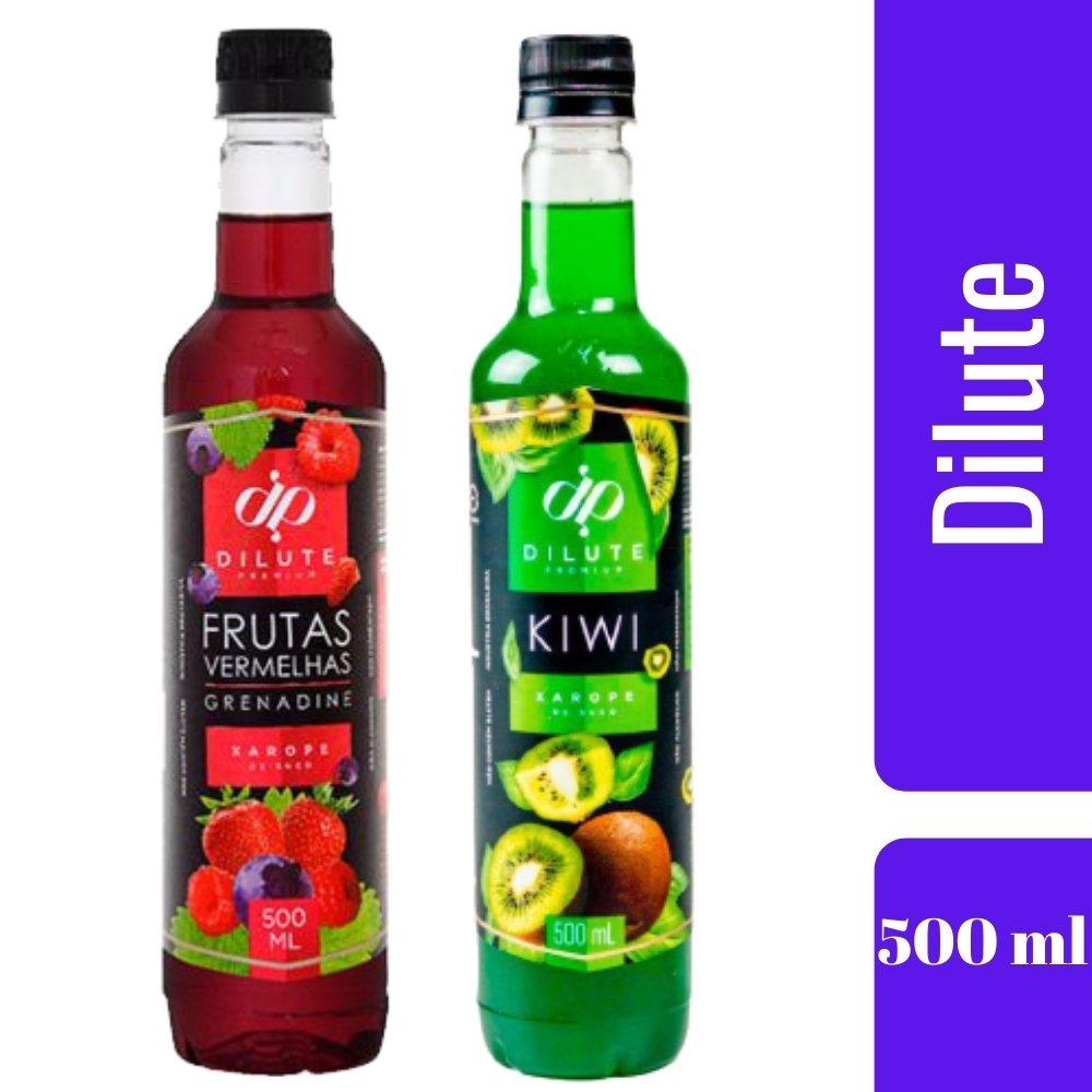 Kit 2 XAROPES DILUTE PREMIUM DRINKS E DOCES 500ML Frutas Vermelhas E Kiwi