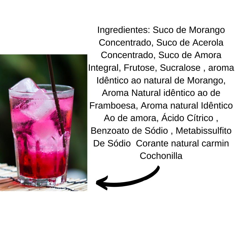 Kit 2 XAROPES DILUTE PREMIUM DRINKS E DOCES 500ML Frutas Vermelhas S/Açucar