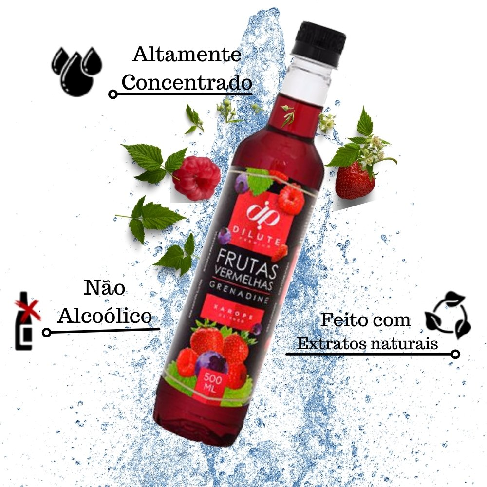 Kit 2 XAROPES DILUTE PREMIUM DRINKS E DOCES 500ML Futas Vermelhas