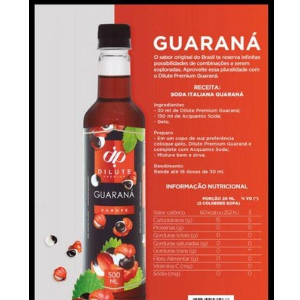 Kit 2 XAROPES DILUTE PREMIUM DRINKS E DOCES 500ML Guaraná