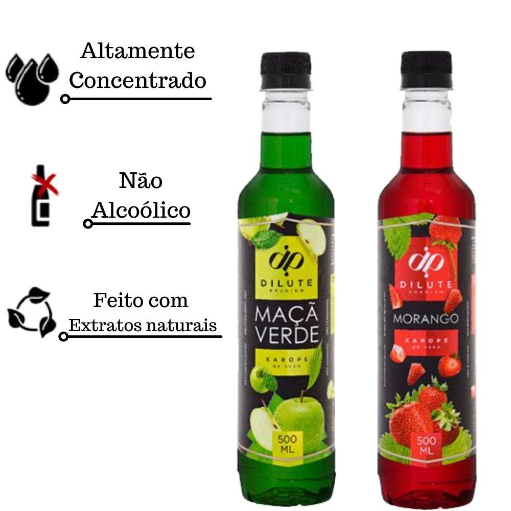 Kit 2 XAROPES DILUTE PREMIUM DRINKS E DOCES 500ML Maçã E Morango