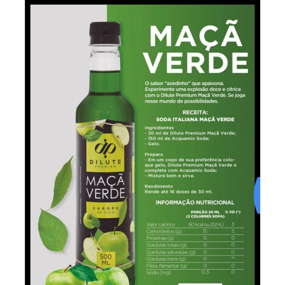 Kit 2 XAROPES DILUTE PREMIUM DRINKS E DOCES 500ML Maçã Verde