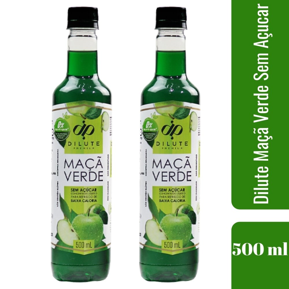 Kit 2  XAROPES DILUTE PREMIUM DRINKS E DOCES 500ML Maçã Verde S/Açucar