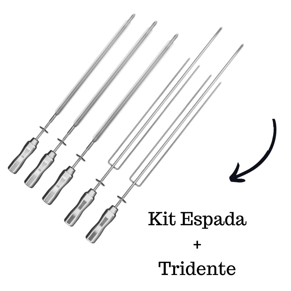 Kit 3 Espadas + 2 Tridentes Inox Cabo Alumínio