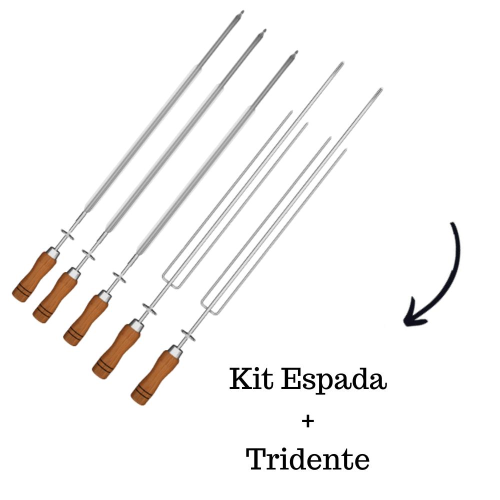 Kit 3 Espadas + 2 Tridentes Inox Cabo Madeira