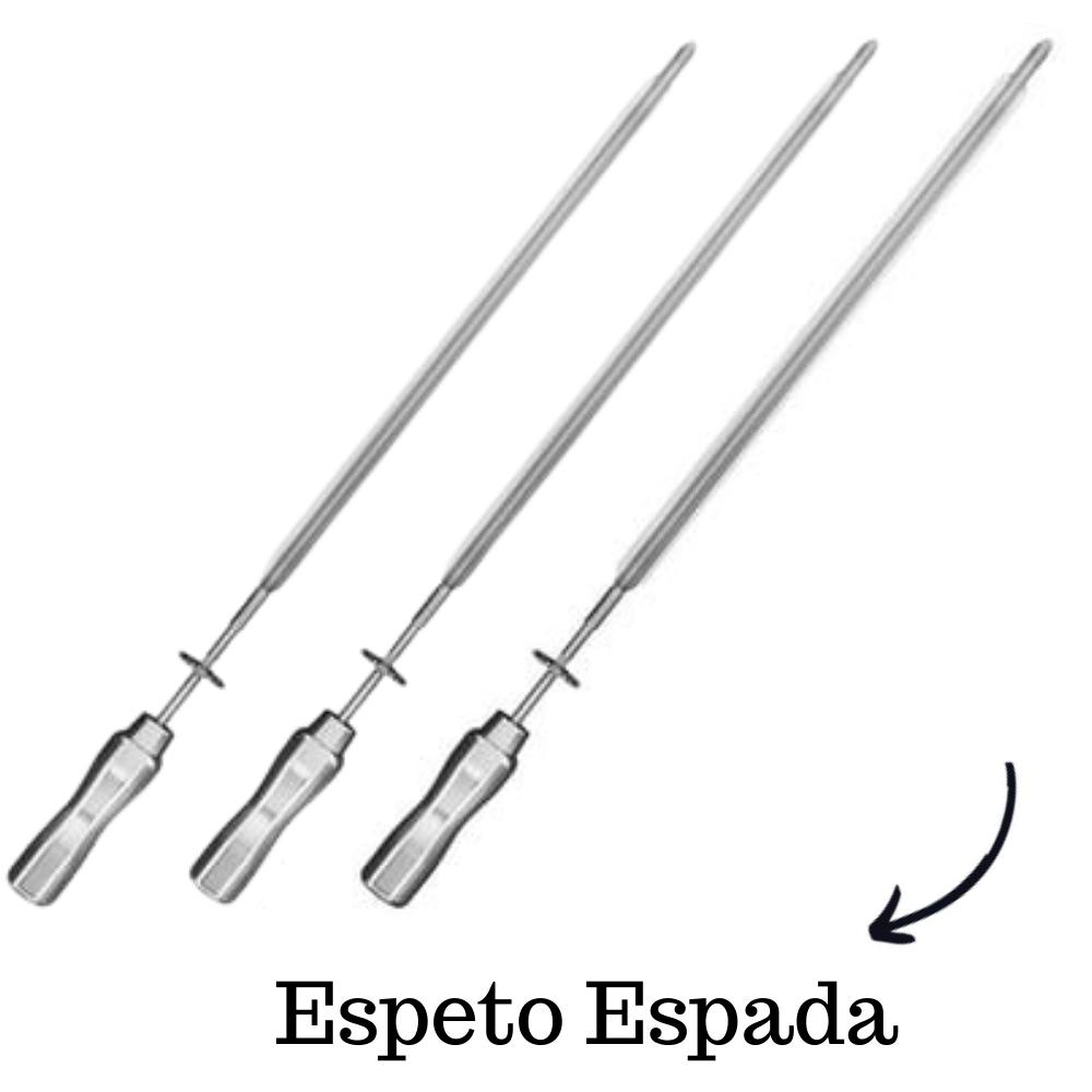 kit 3 Espeto Espada Inox 65CM Cabo Em Alumínio