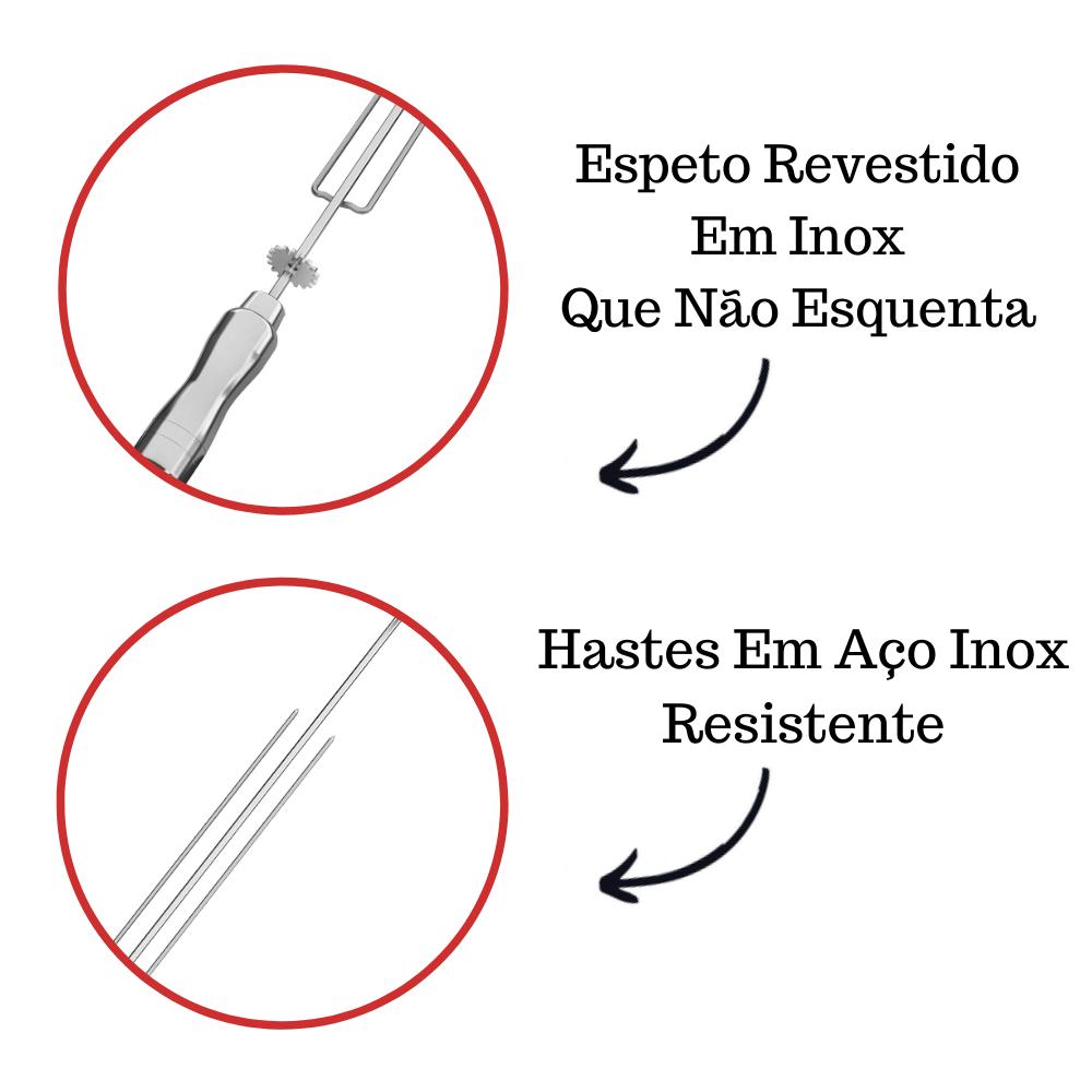 kit 3 Espeto Tridente Inox 65CM Cabo Em Alumínio