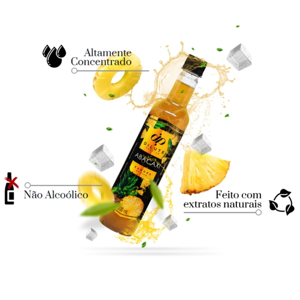 kIT 3 XAROPES DILUTE PREMIUM DRINKS E DOCES 500ML ABACAXI