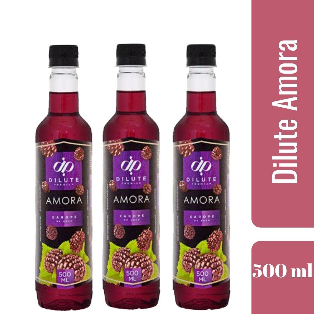 Kit 3 XAROPES DILUTE PREMIUM DRINKS E DOCES 500ML Amora