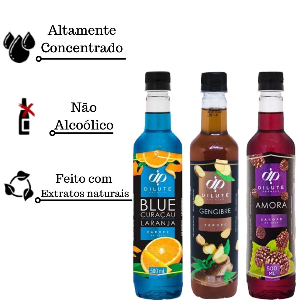 Kit 3 XAROPES DILUTE PREMIUM DRINKS E DOCES 500ML Amora,Blue Curaçau E Gengibre