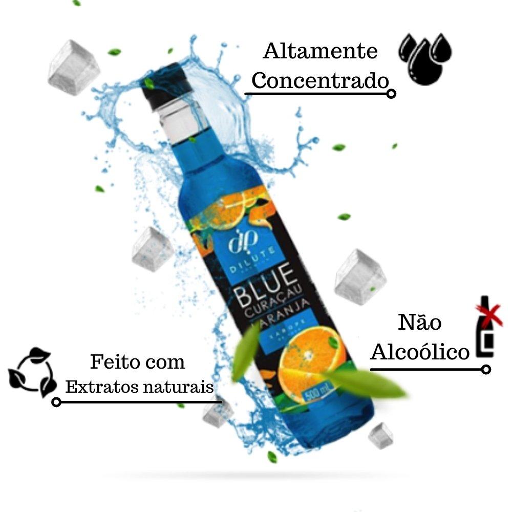 Kit 3 XAROPES DILUTE PREMIUM DRINKS E DOCES 500ML Blue Curaçau