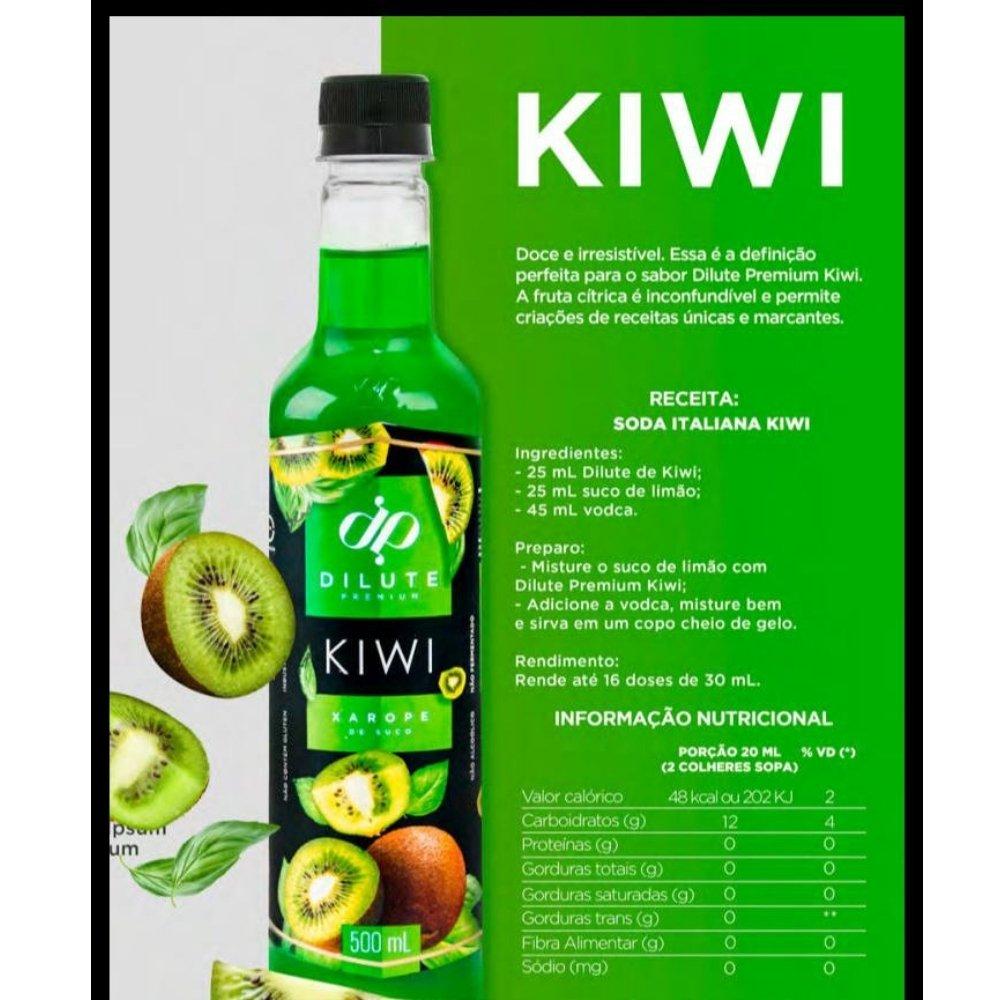 Kit 3 XAROPES DILUTE PREMIUM DRINKS E DOCES 500ML Kiwi