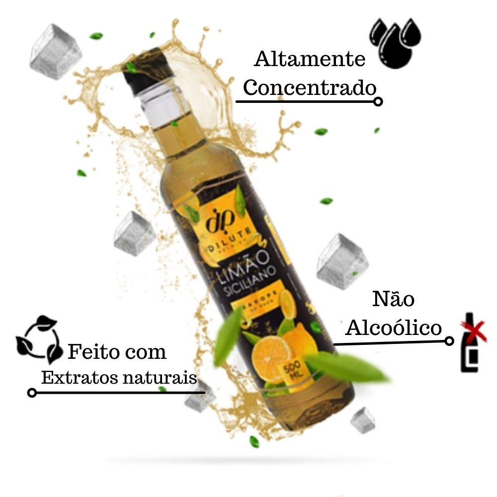 Kit 3 XAROPES DILUTE PREMIUM DRINKS E DOCES 500ML Limão Siciliano