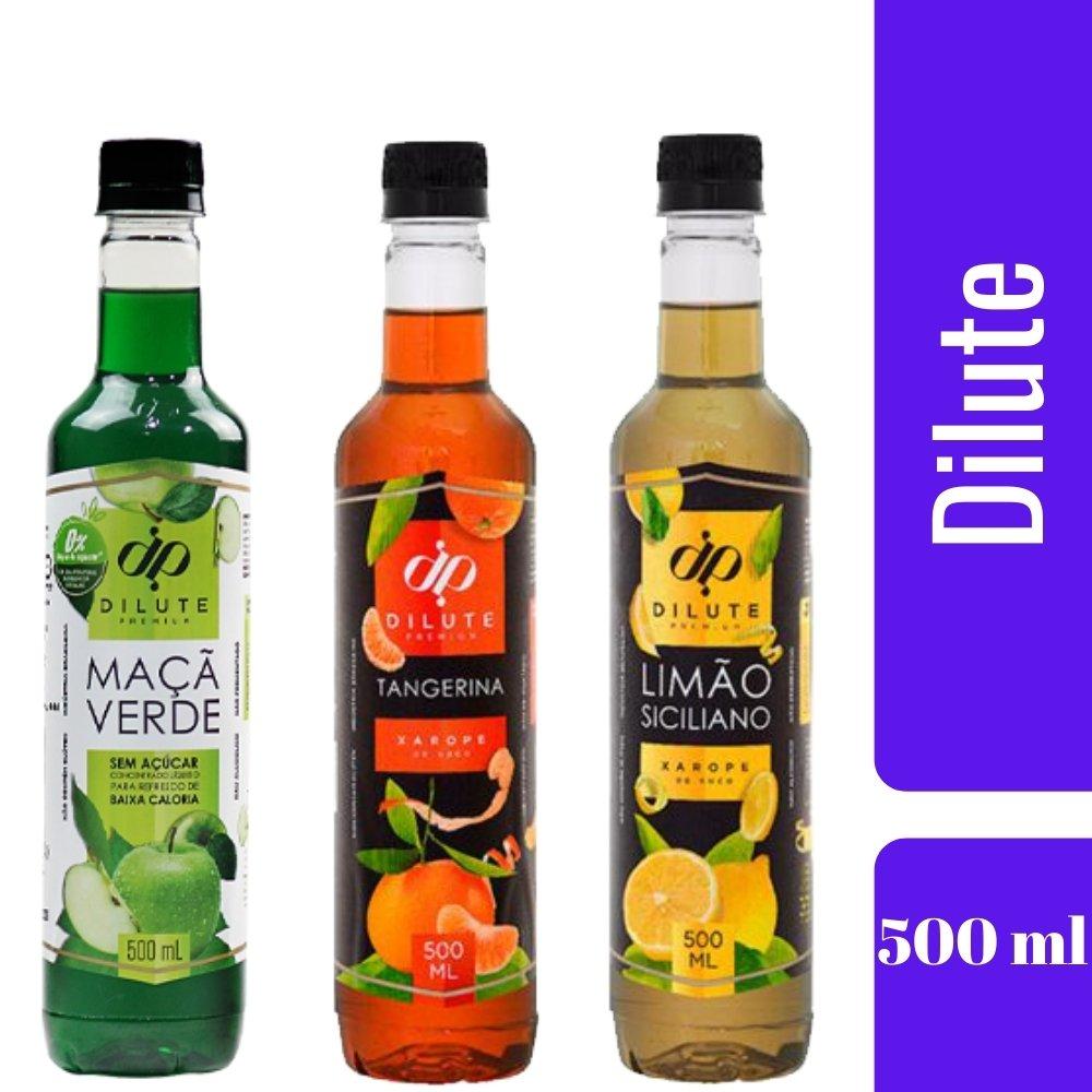 Kit 3 XAROPES DILUTE PREMIUM DRINKS E DOCES 500ML Limão Siciliano,Maçã Verde E tangerina