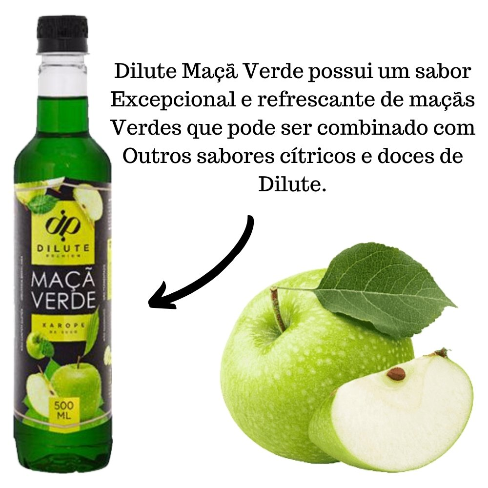 Kit 3 XAROPES DILUTE PREMIUM DRINKS E DOCES 500ML Maçã Verde