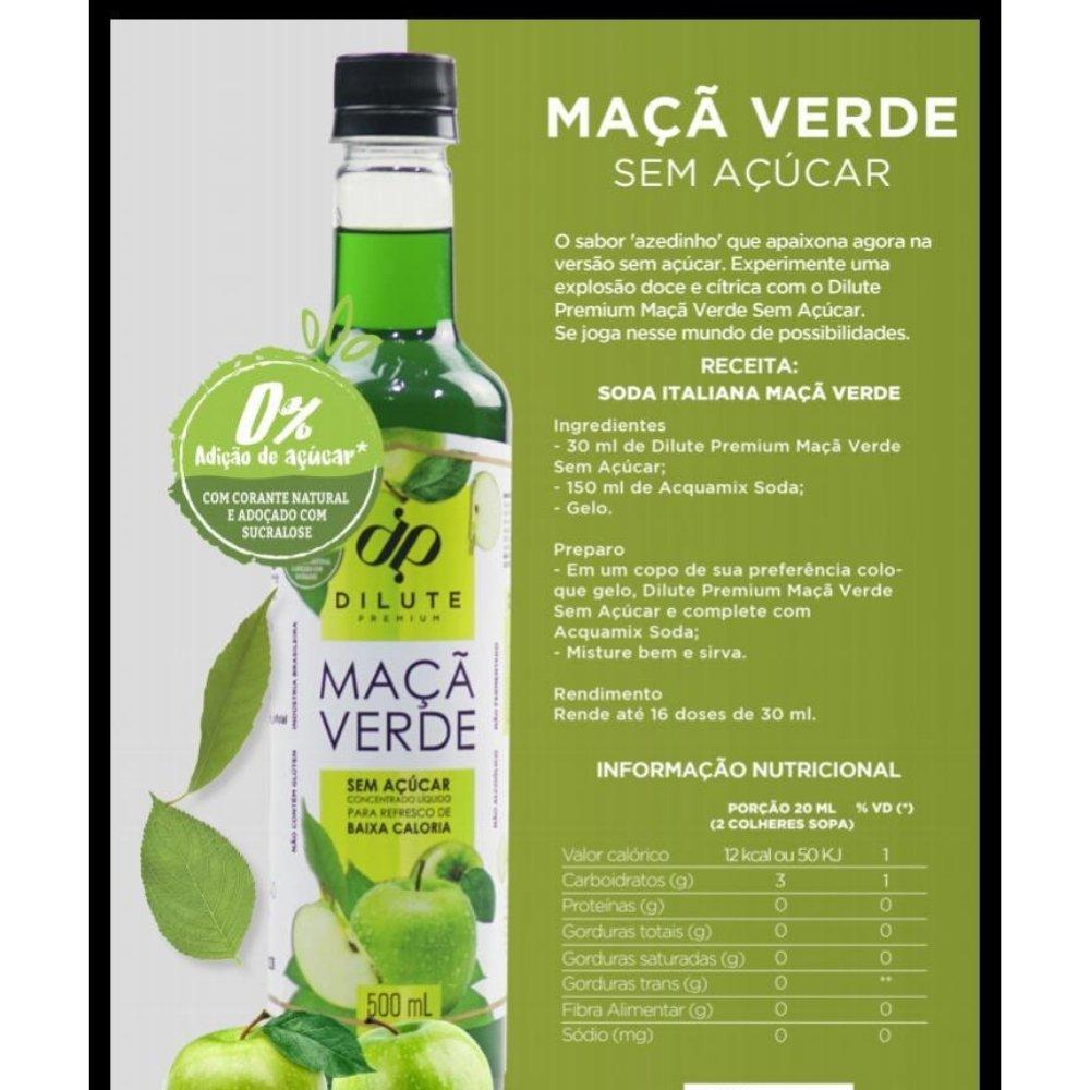 Kit 3 XAROPES DILUTE PREMIUM DRINKS E DOCES 500ML Maçã Verde S/Açucar