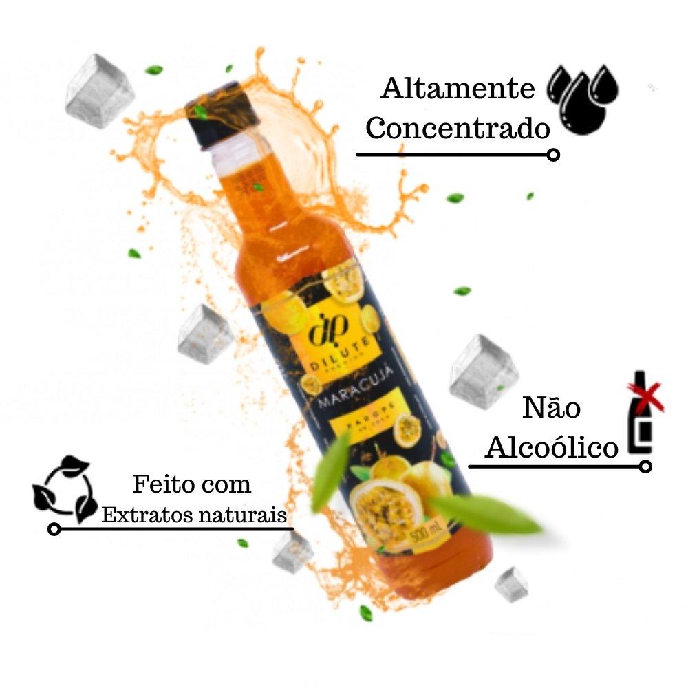 Kit 3 XAROPES DILUTE PREMIUM DRINKS E DOCES 500ML Maracujá