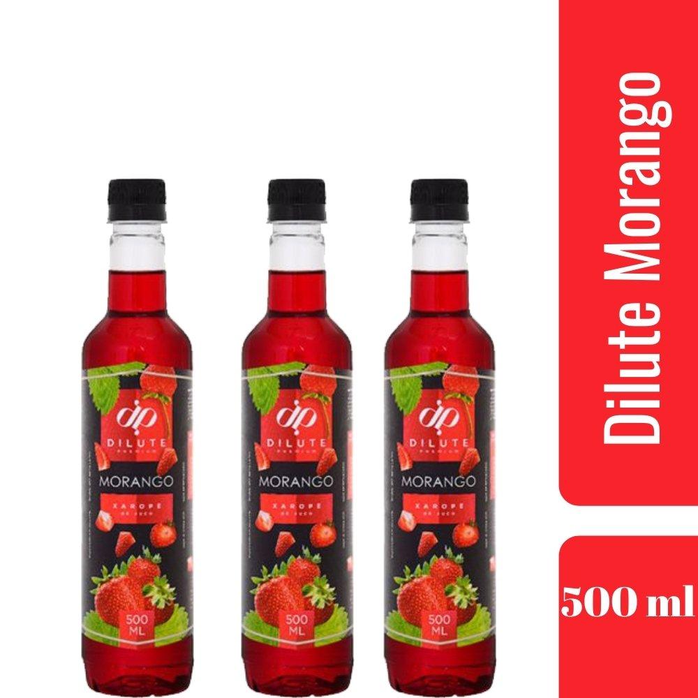 Kit 3 XAROPES DILUTE PREMIUM DRINKS E DOCES 500ML Morango