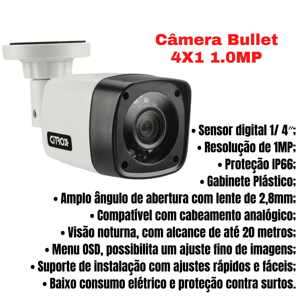 Kit 4 Câmeras de Segurança Bullet 4X1 1.0MP Citrox 720MP