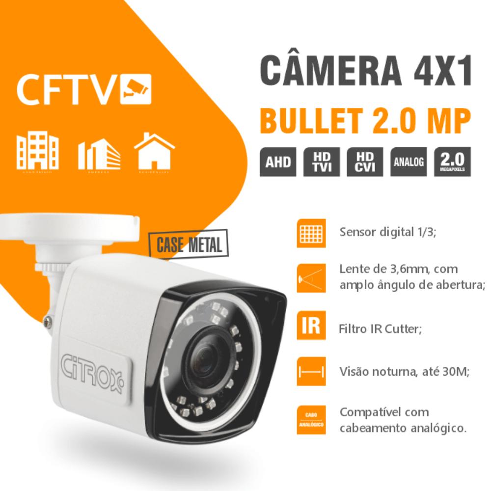 Kit 4 Câmeras De Segurança Bullet 4X1 2.0MP Citrox 1080MP