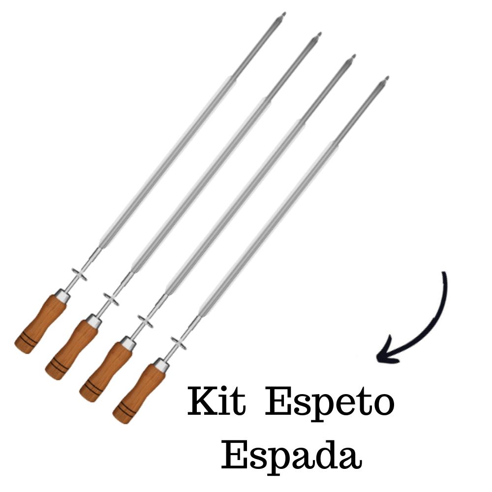 kit 4 Espeto Espada Inox 65CM Cabo Em Madeira