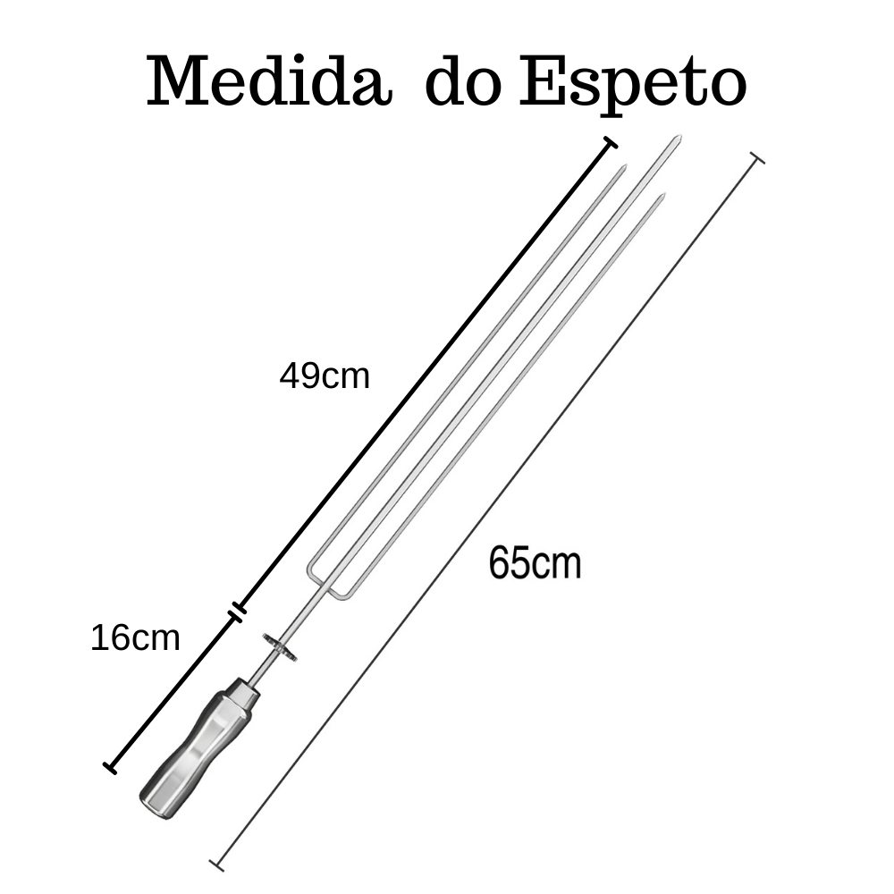 kit 4 Espeto Tridente Inox 65CM Cabo Em Alumínio