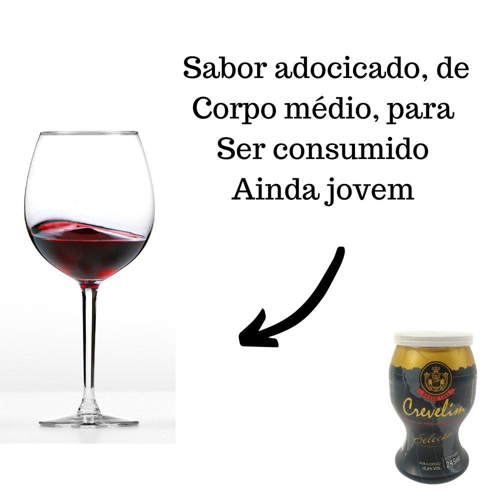 Kit 4 Mini Vinhos Crevelim tinto 2 seco e 2 suave 245ml