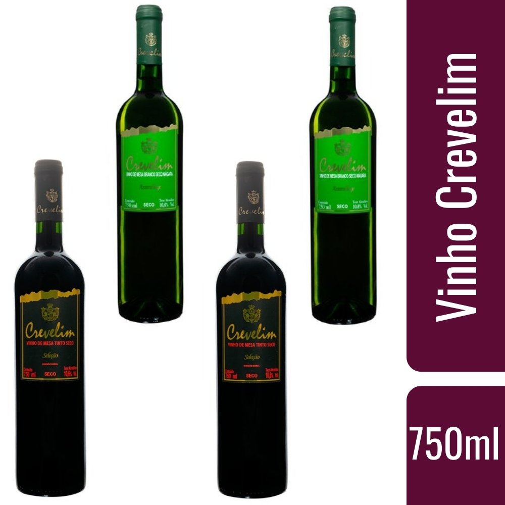 Kit Vinhos De Mesa Crevelim 2 tinto seco e 2 branco Seco Niágara 750ml