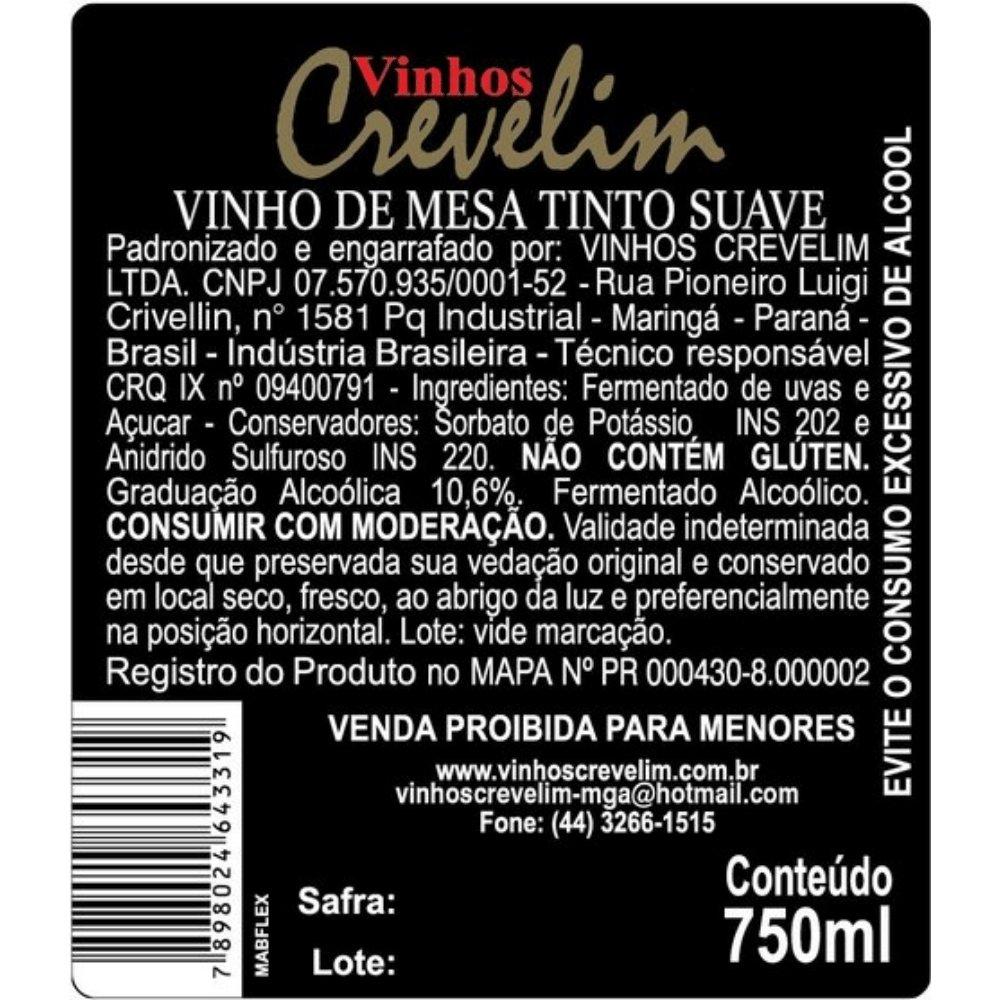 Kit 4  Vinhos De Mesa Crevelim 2 tinto suave e 2 branco Suave Niágara 750ml