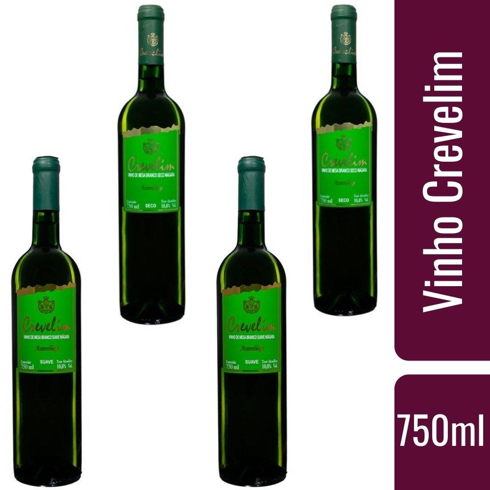 Kit 4 Vinhos De Mesa Crevelim Branco 2 Suave e 2 seco  Niágara 750ml