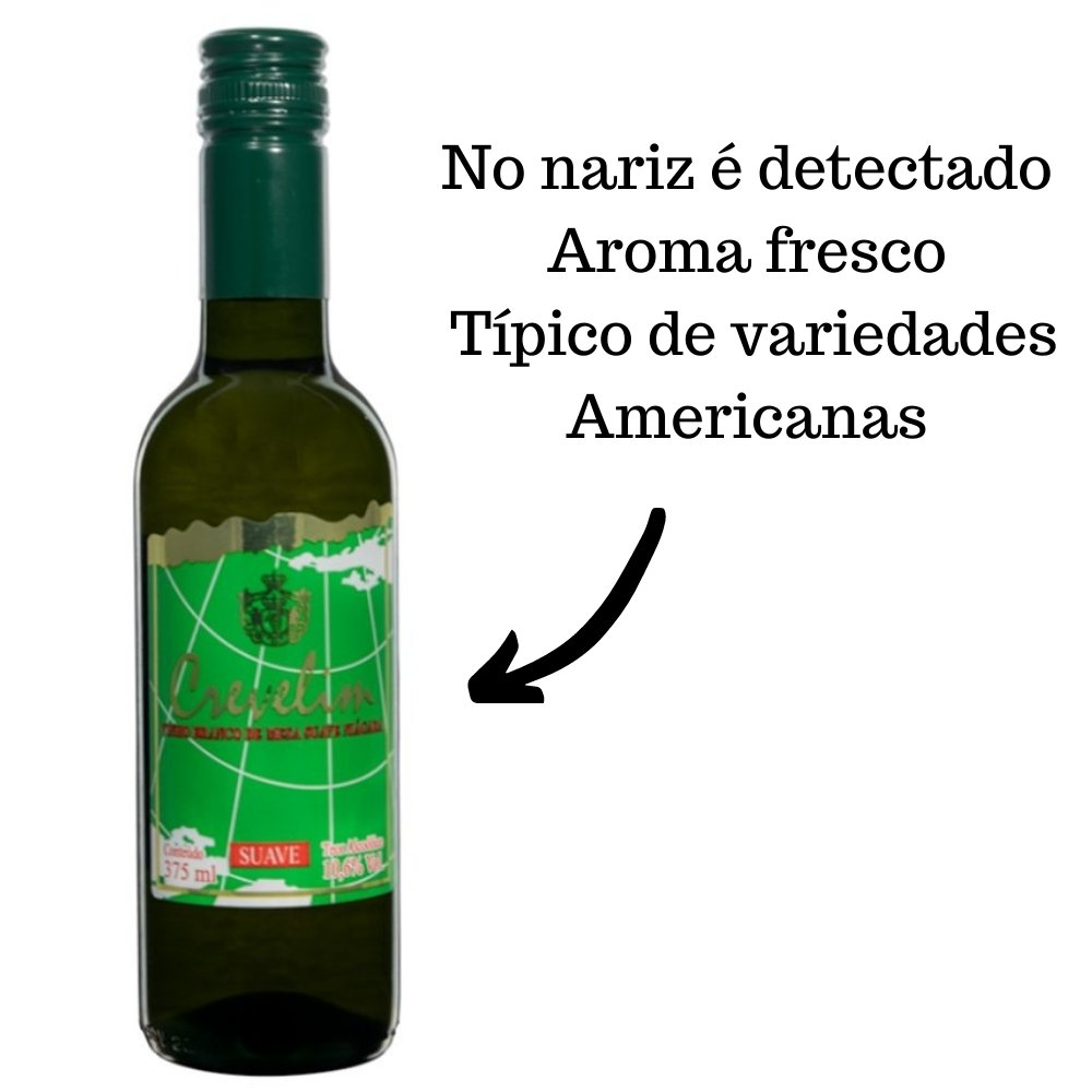 Kit 4 Vinhos De Mesa Crevelim Branco Suave Niágara 375ml