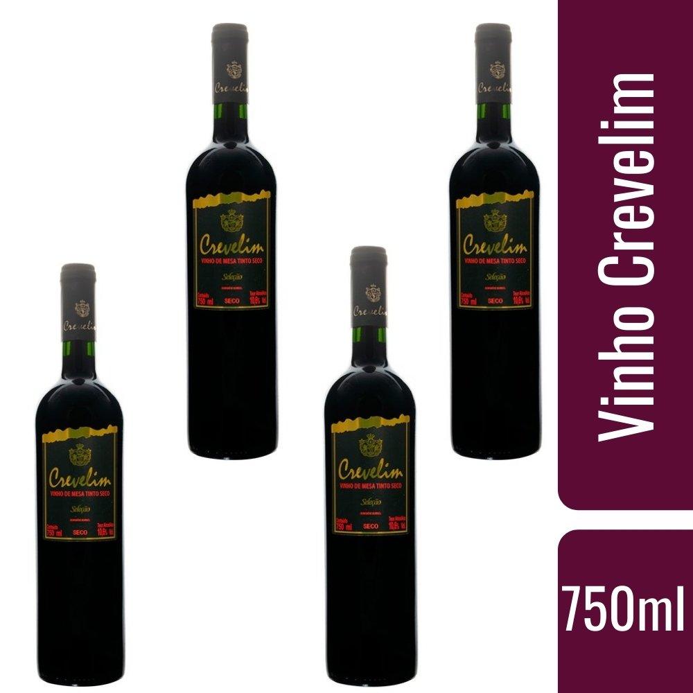 Kit 4 Vinhos De Mesa Crevelim Tinto Seco 750ml