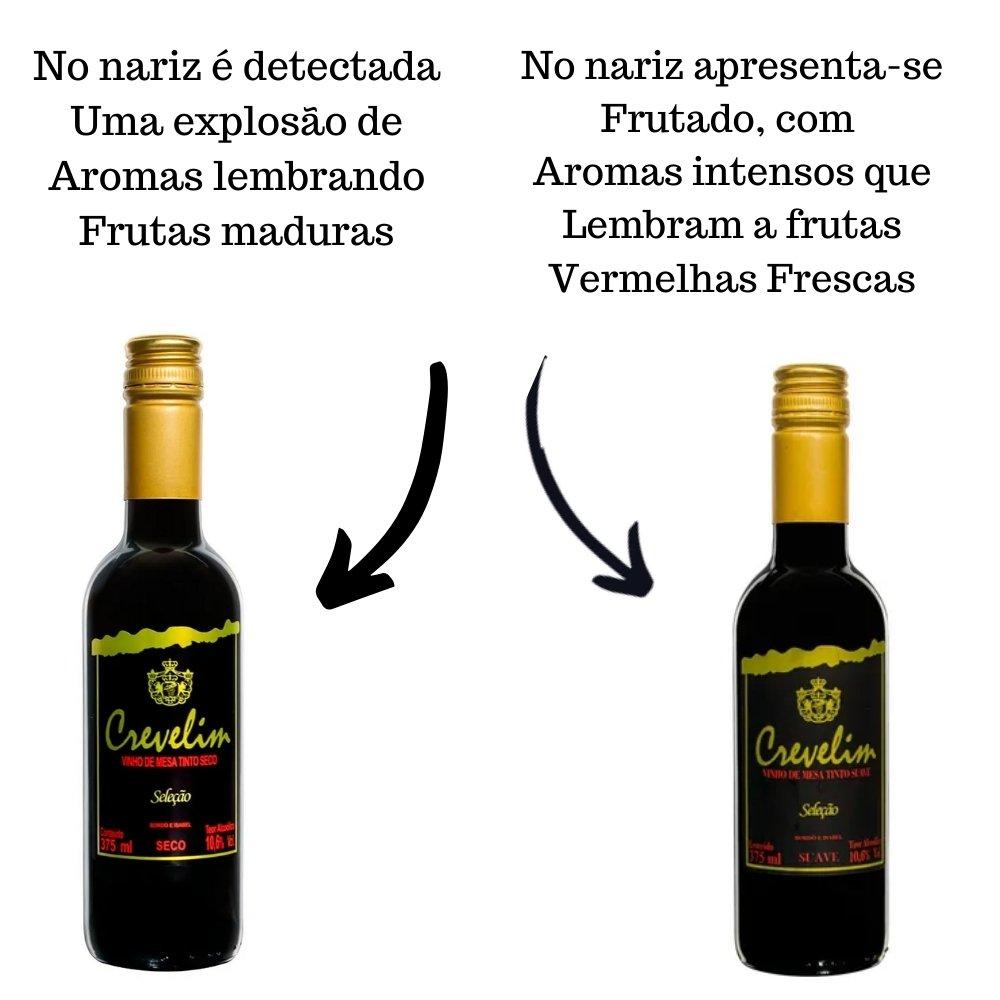 Kit 4 Vinhos De Mesa Crevelim Tintos 2 suaves e 2 Secos 375ml