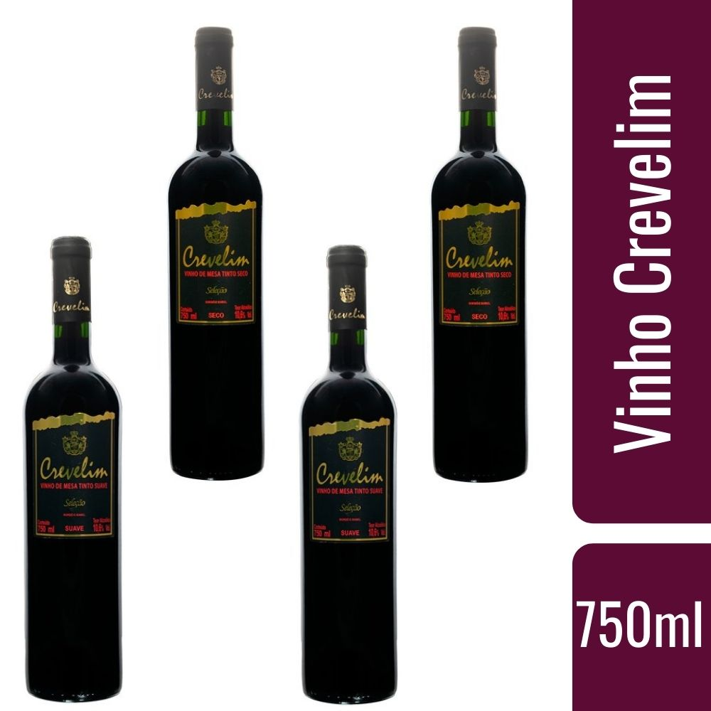 Kit 4 Vinhos De Mesa Crevelim Tintos 2 suaves e 2 Secos 750ml