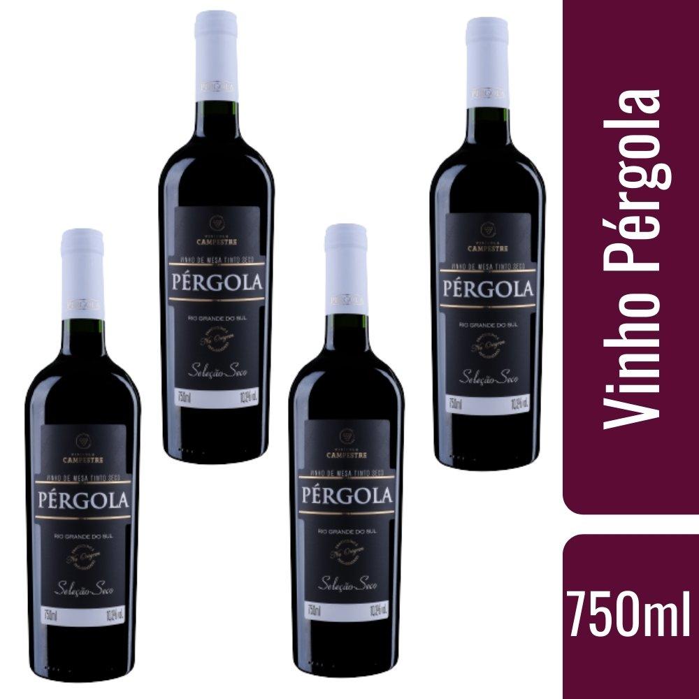 Kit 4 Vinhos De Mesa Pérgola Tinto Seco 750ml