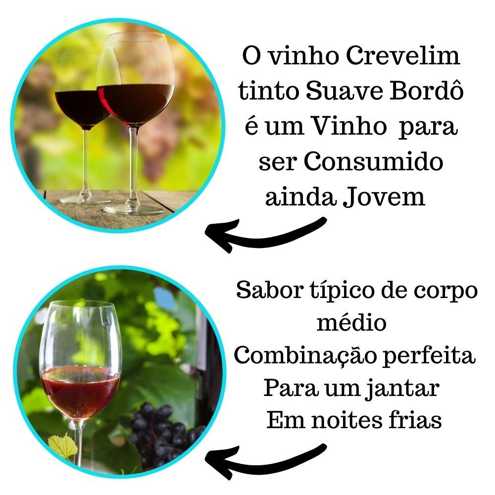 Kit 4 Vinhos De Mesa Tinto Crevelim  2 Suave Bordô Premium E 2 Seco Bordô Excellence 750ml