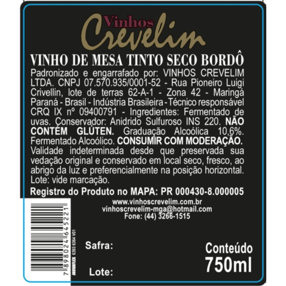 Kit 4 Vinhos De Mesa Tinto Crevelim Seco Bordô Excellence 750ml