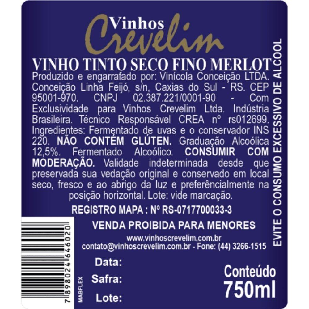 Kit 4 Vinhos Tinto Crevelim Seco Fino 2 Cabernet Sauvignon  E 2 Merlot 750ml