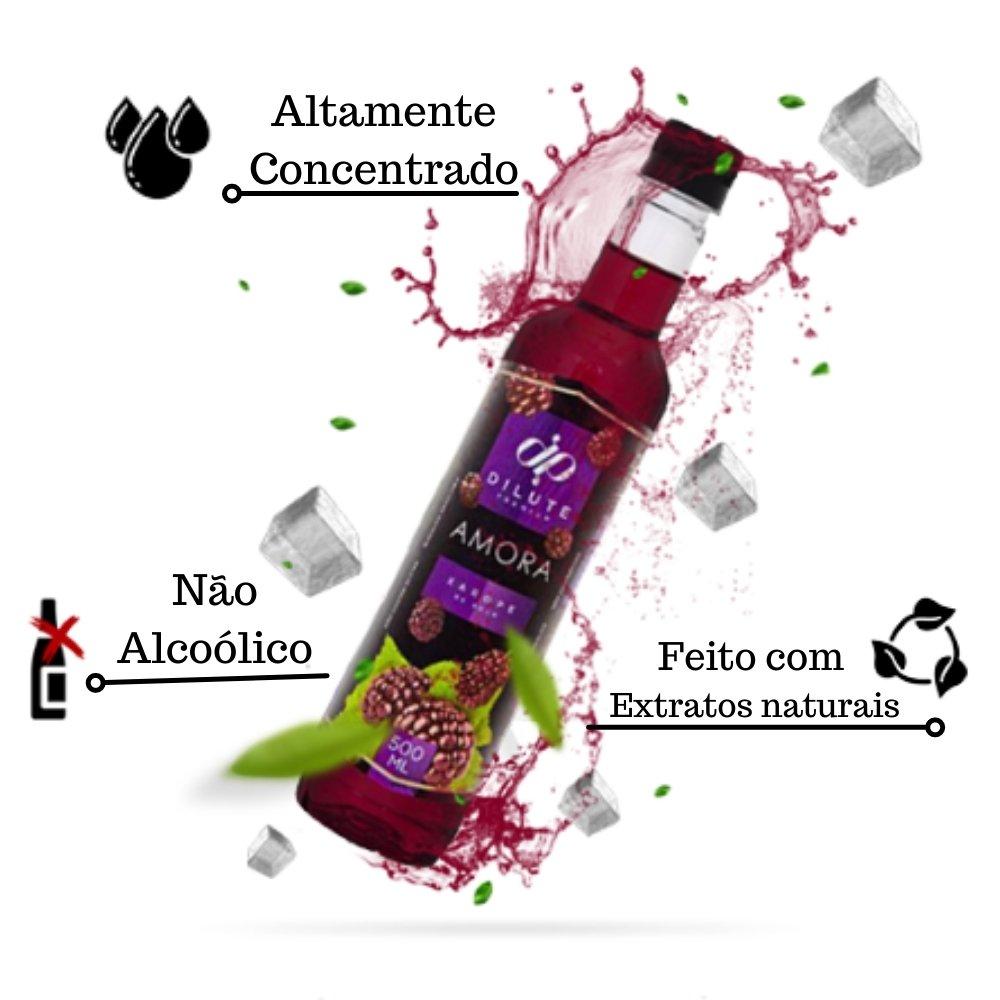 Kit 4 XAROPES DILUTE PREMIUM DRINKS E DOCES 500ML Amora