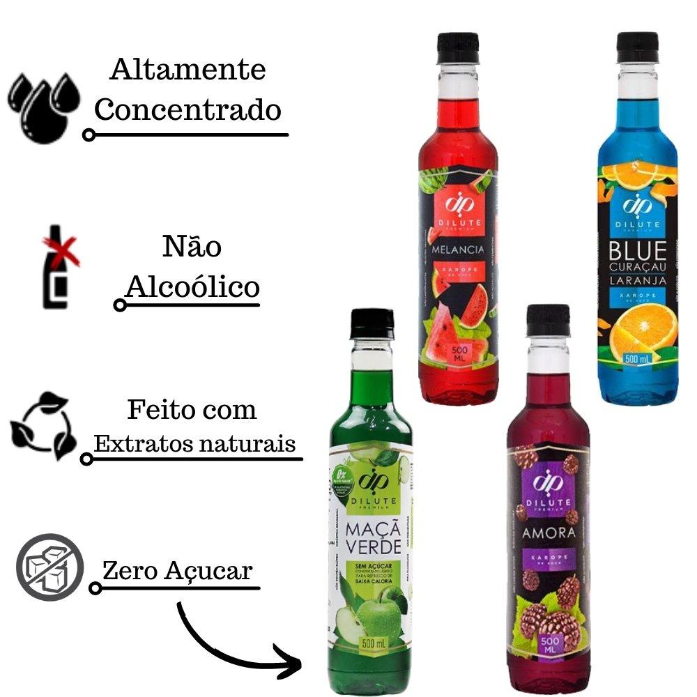 Kit 4 XAROPES DILUTE PREMIUM DRINKS E DOCES 500ML Amora, Melancia, Blue Curaçau E Maçã Verde Zero