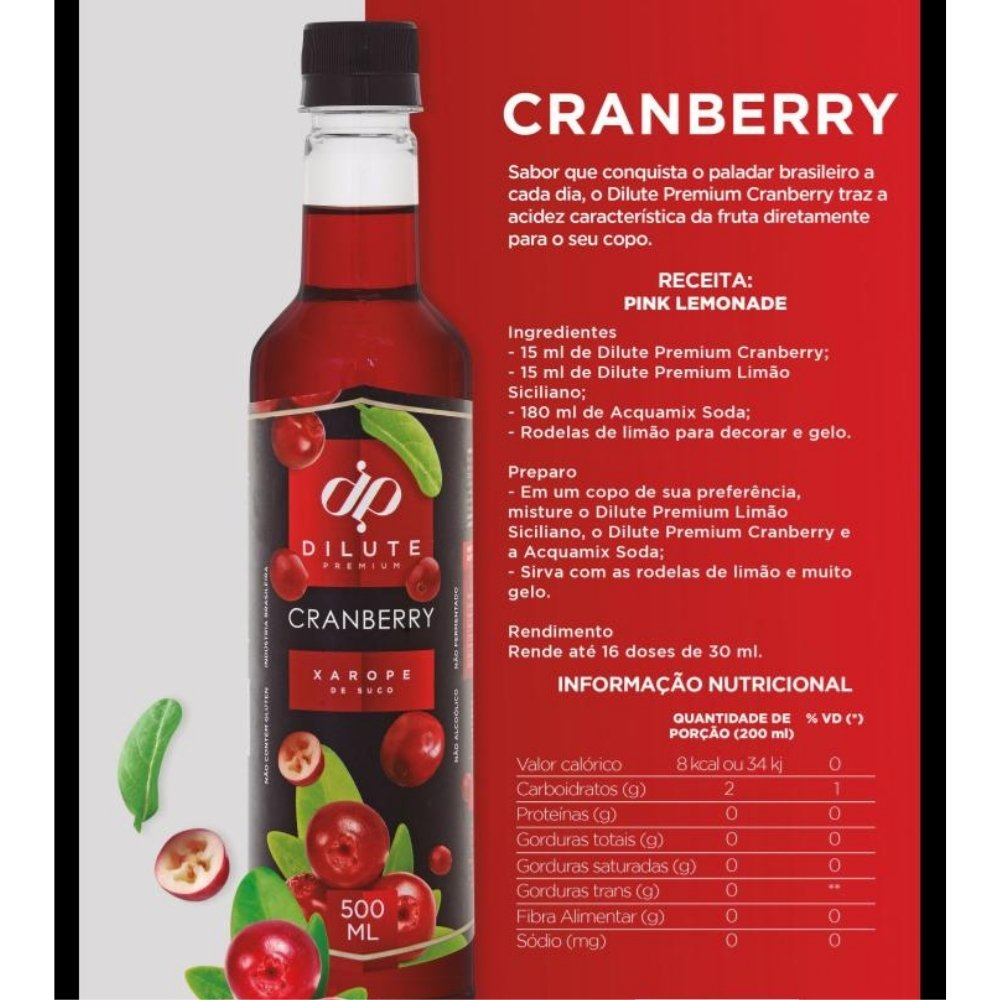 kIT 4 XAROPES DILUTE PREMIUM DRINKS E DOCES 500ML Cranberry