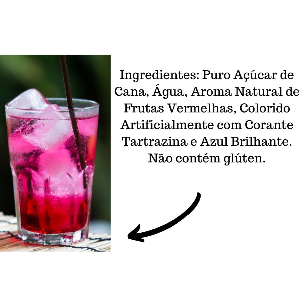 Kit 4 XAROPES DILUTE PREMIUM DRINKS E DOCES 500ML Futas Vermelhas