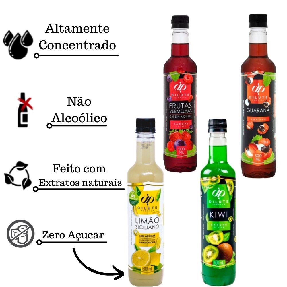 Kit 4 XAROPES DILUTE PREMIUM DRINKS E DOCES 500ML Guaraná, Frutas Vermelhas, Kiwi E Limão Siciliano