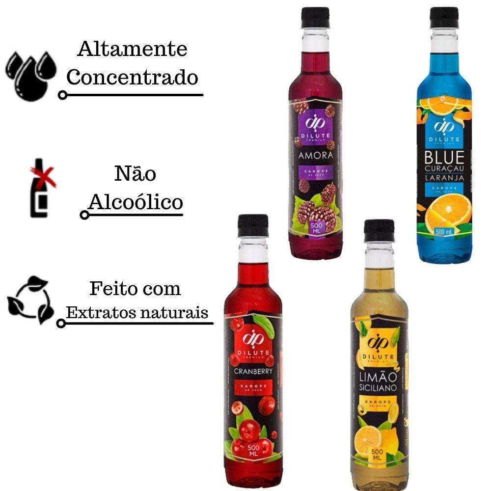 Kit 4 XAROPES DILUTE PREMIUM DRINKS E DOCES 500ML Limão Siciliano, Amora, Cranberry E Blue Curaçau