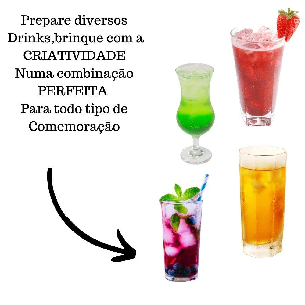 Kit 4 XAROPES DILUTE PREMIUM DRINKS E DOCES 500ML Maçã, Morango, Mirtilo E Gengibre